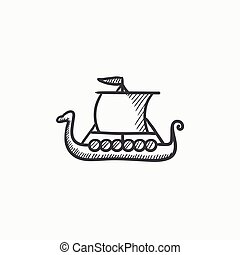 Old ship sketch icon - Old ship vector sketch icon isolated...