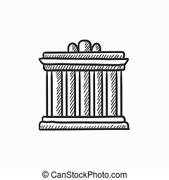 Acropolis of Athens sketch icon - Acropolis of Athens vector...