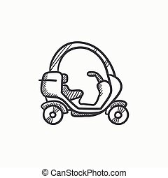 Rickshaw sketch icon. - Rickshaw vector sketch icon isolated...