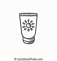 Sunscreen sketch icon - Sunscreen vector sketch icon...