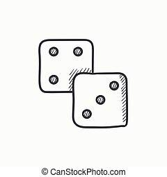 Dices sketch icon.