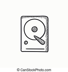 Hard disk sketch icon. - Hard disk vector sketch icon...