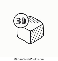 Three D box sketch icon - Three D box vector sketch icon...