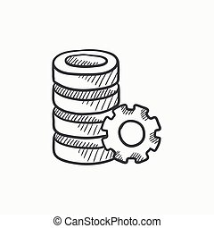 Server with gear sketch icon. - Server with gear vector...
