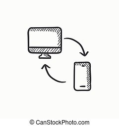 Synchronization computer with phone sketch icon -...