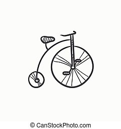 Old bicycle with big wheel sketch icon - Old bicycle with...