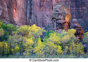 púlpito, rocha, zion, nacional, parque