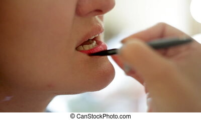 professional makeup artist paints a model lips,makeup,...