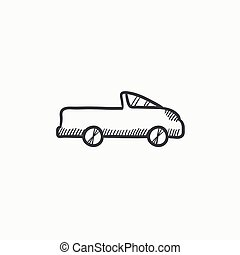 Pick up truck sketch icon. - Pick up truck vector sketch...