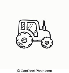 Tractor sketch icon - Tractor vector sketch icon isolated on...