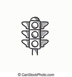 Traffic light sketch icon. - Traffic light vector sketch...
