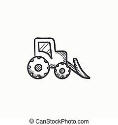 Bulldozer sketch icon. - Bulldozer vector sketch icon...