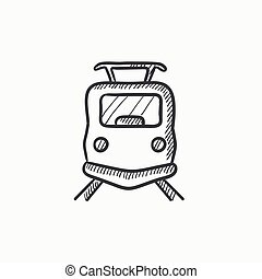 Front view of train sketch icon - Front view of train vector...