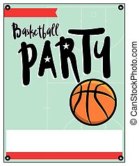 Basketball Party Invitation Template Illlustration - A blank...