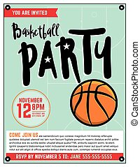 Basketball Party Invitation Template Illlustration - A...