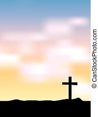 Christian Cross Silhouette at Sunrise Sunset Illustration