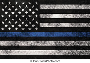 Grunge Textured Police Support Flag Background - An American...