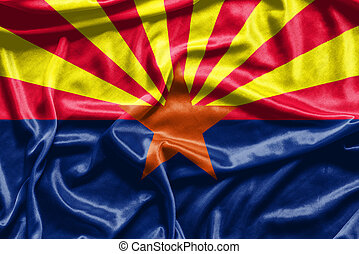 Arizona flag pattern on fabric texture,retro vintage style