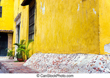 Colonial Architecture and Plants - Yellow colonial...
