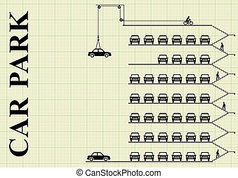 Milti storey car park - Representation of cars parked in a...