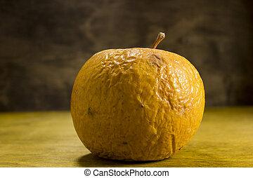 arrugado, podrido, manzana