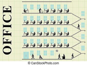 Office block - Representation of employees working at their...