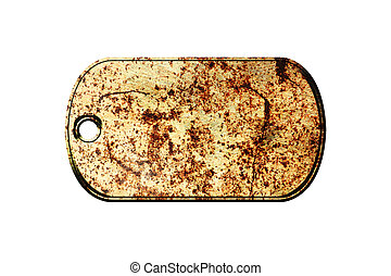 old metal dog tag on isolated white background.