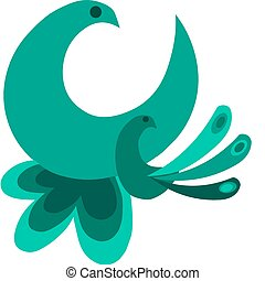 decorative birds with beautiful shaped tails - 1