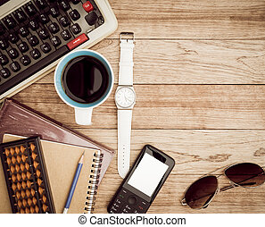 Office desk with coffee background - Office desk background...