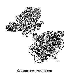 Line art of flying butterfly with Chinese rose flower