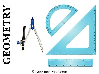 Geometry instrument set consisting of ruler protractor,...