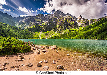 Beautiful lake in the Tatra Mountains at dawn