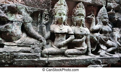 Angkor Thom, Terrace of elephants, Siem Reap, Cambodia -...
