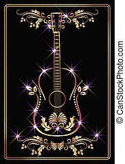 Golden guitar and ornament with  stars