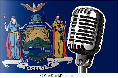 New York State Flag And Microphone