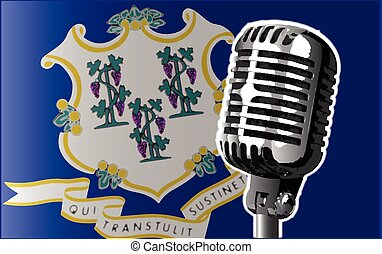 Connecticut Flag And Microphone - The state of Connecticut...