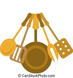 kitchen tools in yellow colors, vector illustration