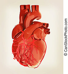 Human heart 3D illustration Vintage style