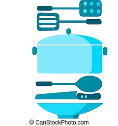 soup pot with plate, spoon and knife , vector illustration