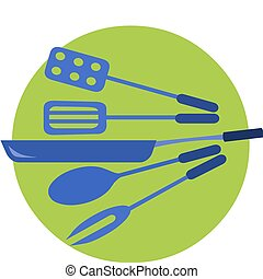 kitchen tools in blue colors on green background, vector...