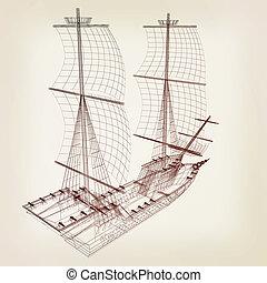 3d model ship 3D illustration Vintage style