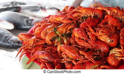 Boiled Red Crayfish on the Counter Fish Market - Fish market...