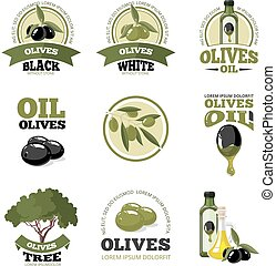 vector illustrations set of Olives - vector big labels set...