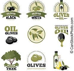 vector illustrations set of Olives - vector big labels set...