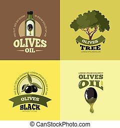vector illustrations set of Olives - vector labels set of...