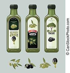 vector illustrations set of Olives