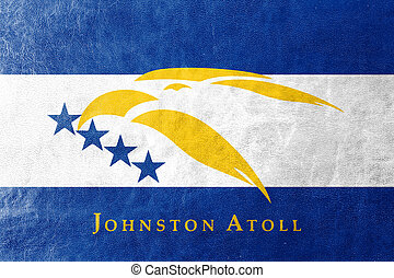 Flag of Johnston Atoll, USA, painted on leather texture