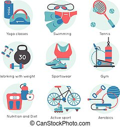 Fitness Gym Colored Icon Set - Fitness gym colored icon set...