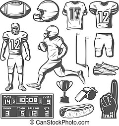 American Football Monochrome Elements Set - American...
