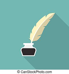 Inkwell icon with feather pen icon, flat design